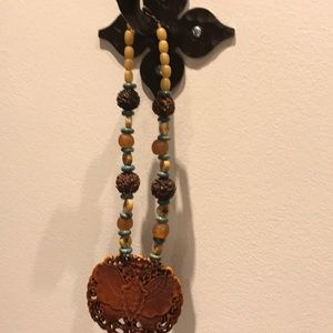 Jewelry - Carved wooden necklace butterfly